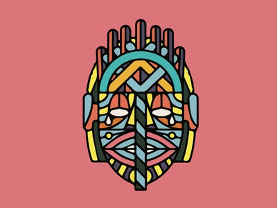 African Mask flat fineart psd illustration art drawing painting abstract africa icon mask art vector illustration