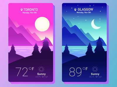 Weather App free mockup clean flat weather design psd template app interface ui ux vector illustration