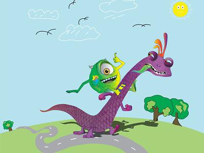 monster-inc desig by yogak art vector ilustrator design monsters inc