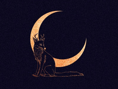 Deerfox fantasyart fantasy moon philosophy illustration design