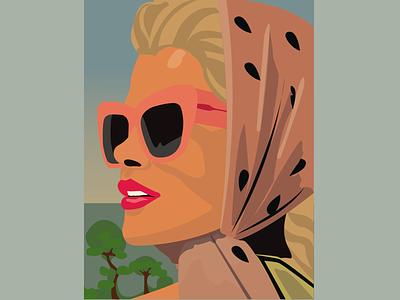 glasses style stylish 60s headscarf woman illustration woman sun sunglasses sunny glasses tanning design illustrator vector illustration inspiration