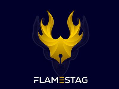 FlameStag logo, flame logo, modern logo, Gradient logo. deer logo fire logo logo professional logo logoart gradients creative logo logogrid branding modern logo logodesign gradient logo