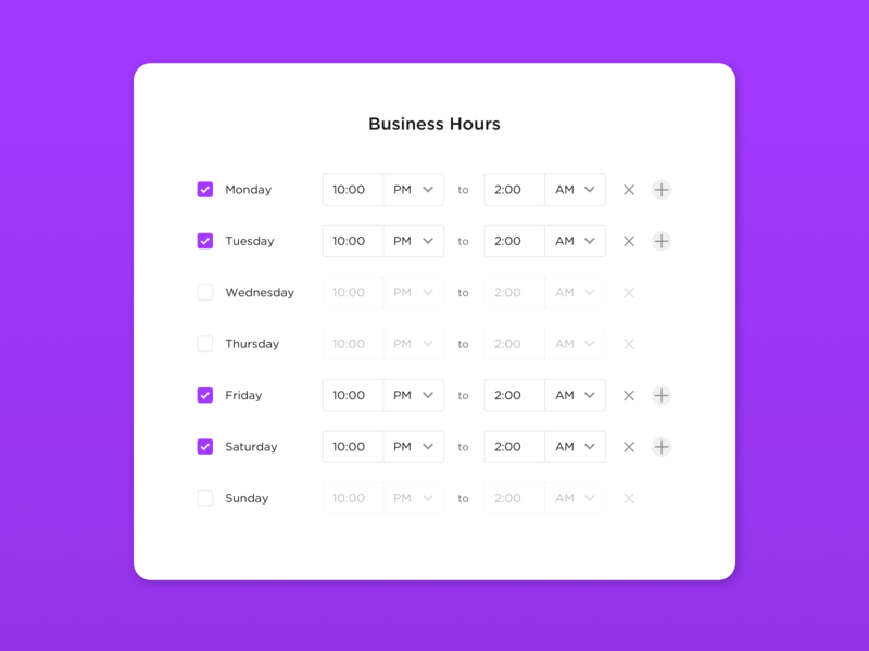 Business Hours days of the week inputs form design open hours open hours of operation form business hours hours