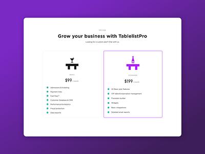TablelistPro Pricing web app web software venue management club nightclub night club nightlife pricing marketing