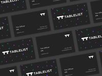 Tablelist business cards