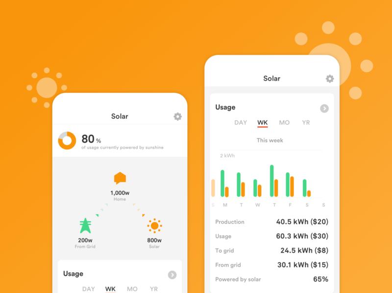 Sense Solar net metering grid power solar stats graph app ui electricity energy mobile smart home sense