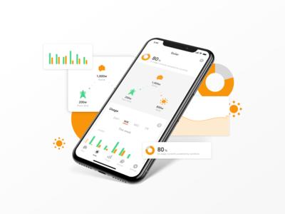 Sense Solar home stats graph power electricity energy solar energy mobile ui mobile sense smart home