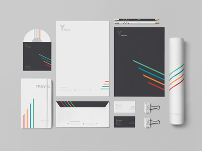 Y Travel website packaging brand architecture logo corporate identity