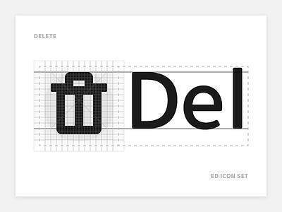 Delete - Ed Icon Set garbage remove bin trash delete icon grid font align