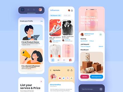 Influencer App gif vector designs icon dashboard app ux ui illustration design