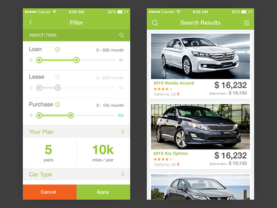Cars Shop App green dashboard filter search ux ui design app shop cars