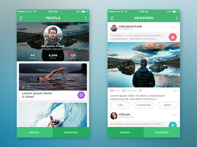 "Social App ""the Mission"" newsfeed dashboard home profile ios ux ui design app social"