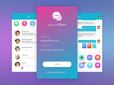 Chat and Pay App idea free design sketchapp signup login dashboard payment pay ios app chat
