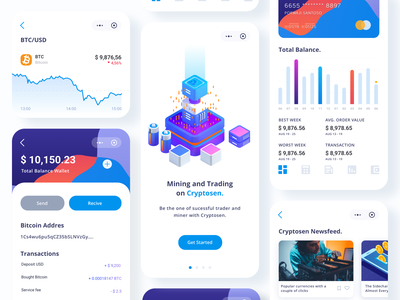 Cryptosen App payment app onboarding isometric design modeling cinema4d ios vector icon designs dashboard ux ui app illustration design