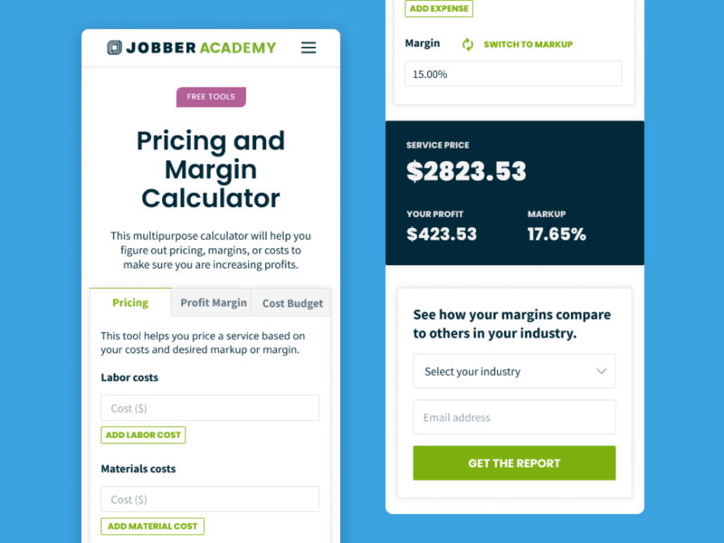 Pricing and Margin Calculator ui minimal website mobile landing page product design resources tool lead generation calculator tabs web