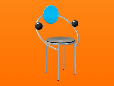 First Chair vector memphis design vector art figma 3d illustration 3d illustration