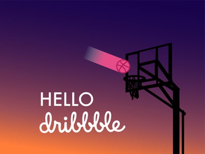 Hello Dribble silhouette gradient free throw illustration hello dribble basketball