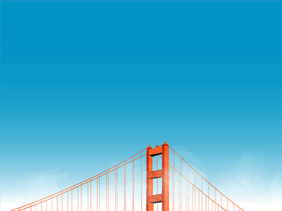 Golden Gate Bridge landscape illustration clouds sky gradient architecture foggy fog bridge golden gate bridge golden gate san francisco