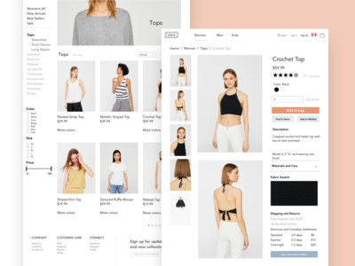 Mirror E-Commerce Concept web filters products fashion clothing e-commerce shopping