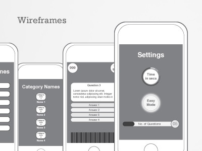 Wireframe UI Design for iPhone game iphone wireframe application ios trivia design iphone app ui design iphone game