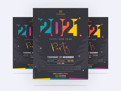 Free 2021 New Year Flyer Template design party flyer design 2021 party flyer 2121 new year flyer 2021 freebies free flyer template flyer design flyer happy new year flyer new year flyer