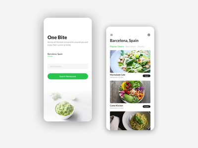One Bite - Food Delivery App delivery food sketch ios minimal flat app ui design
