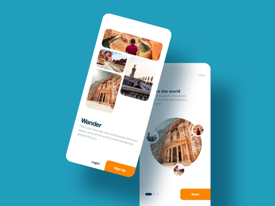 Wander - Travel Discovery App flat minimal ux travel ui sketch ios design app