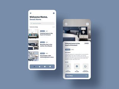 HomeSweet - Home Rental App ux ui sketch ios design app