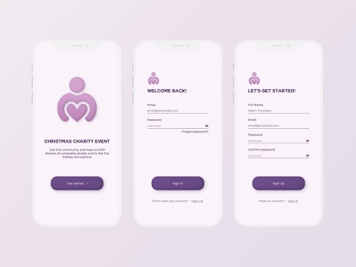 Sign Up Concept daily 100 challenge dailyuichallenge daily ui light ui uxdesign ux design minimal uidesign pink simple sign in sign up ios mobile design charity app dailyui app ui