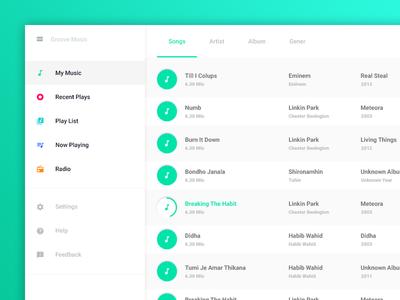 Windows Groove Music Redesign app design user experience user interface windows app ux ui