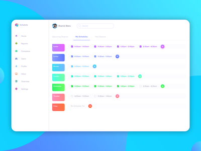Schedule Manager app adobe xd dashboard design user experience user interface web app web design dashboard ux ui