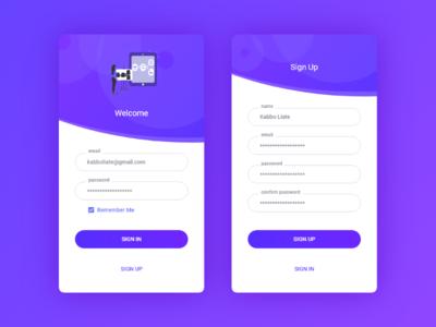 Login & Sign up Page sign up login mobile app design user experience design adobe xd user interface designer user interface design ux ui