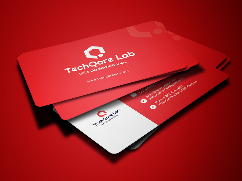 Business Card For TechQore Lab identity business card minimal logo design business card design