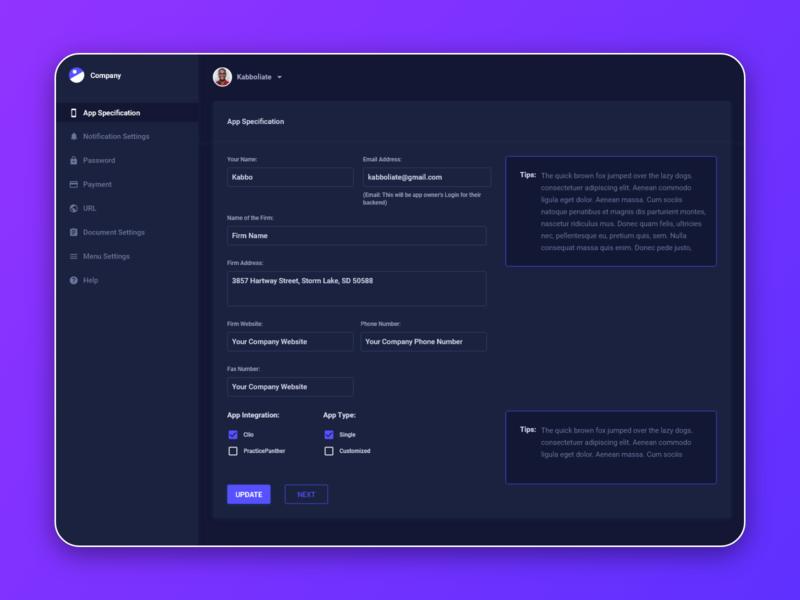 Dark Dashboard (Adobe XD) App Specifications (Input fields) uiux user experience adobe xd dark theme dark mode dark ui dashboard design dashboard app dashboard ui user interface ux ui