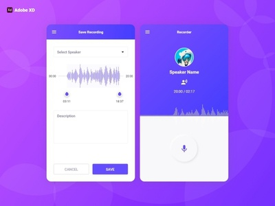 Audio Recorder Design   Adobe XD