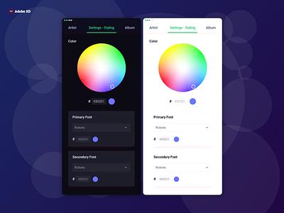 Theme Color Picker Design   Adobe XD app style app style design mobile app design color picker uia uix ux ui ios app design adobe xd  photoshop  ui ux