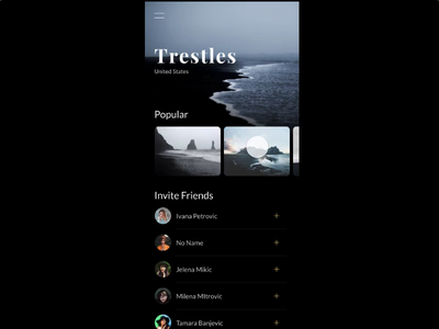 Menu Animation social interaction ux ui invison beaches iphone ios menu travel animation