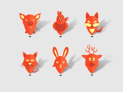 Meetogram map pins cat moose rabbit roaster fox pig geo animals map pins pins icons
