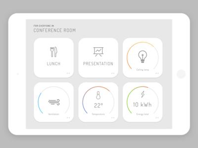 Raybased iPad app minimalistic gray ipad dashboard widgets smart real estate iot