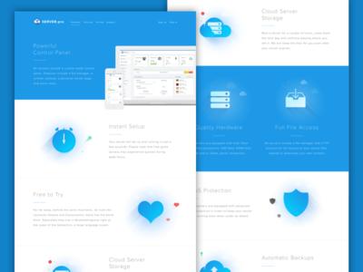 Server.pro features illustrations server minecraft marketing site landing page hosting blue
