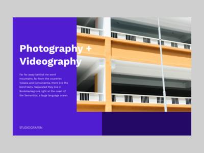Studiografen Design Exploration landing video work sans card unsplash photo yellow purple minimal