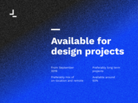 Available for design projects