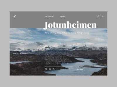 Visit Nature nature photography nature grid web app minimalistic typography ui