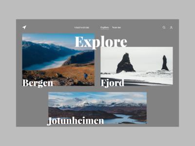 Visit Nature explore web photography web app ux ui minimal grid nature typography minimalistic