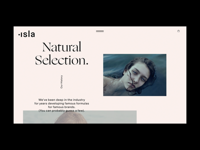 Isla Skincare Landing Page beauty skincare skin fashion motion graphics motion photography photo modern clean minimal landing page typography shop store ecommerce design web website website design