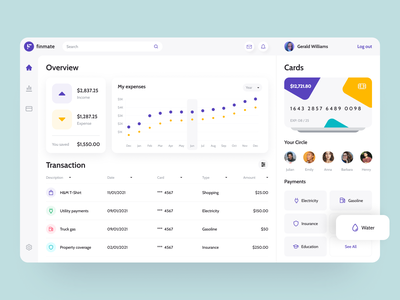 Finmate - Dashboard web app design finance app web design web app card clean ui responsive web payments stats ui torqoise blue yellow purple management financial finances dashboad stats