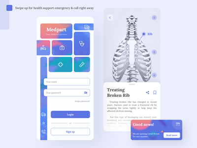 Medpart - Medical app doctor clinic hospital app design ui design mobile ui design app covid-19 medicine service medical app health app medical health blue mobile mobile app ux ui