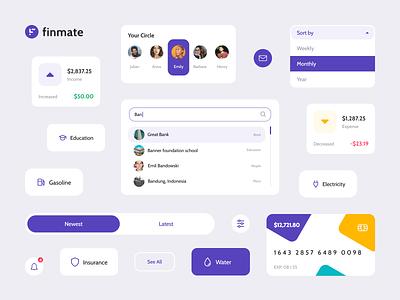 Finmate - Component uidesign online transaction fintech money credit card finance component web app web purple uiux ux ui design app application dashboard money management management app