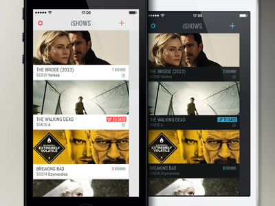 iShows app iphone app ui themes minimal dark light