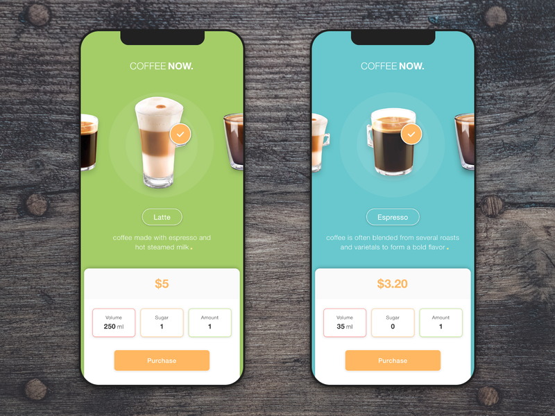 Coffee Now App ui help user price cup of coffee ux-ui ux-design uidesign color choose drinks purchase coffee app add new